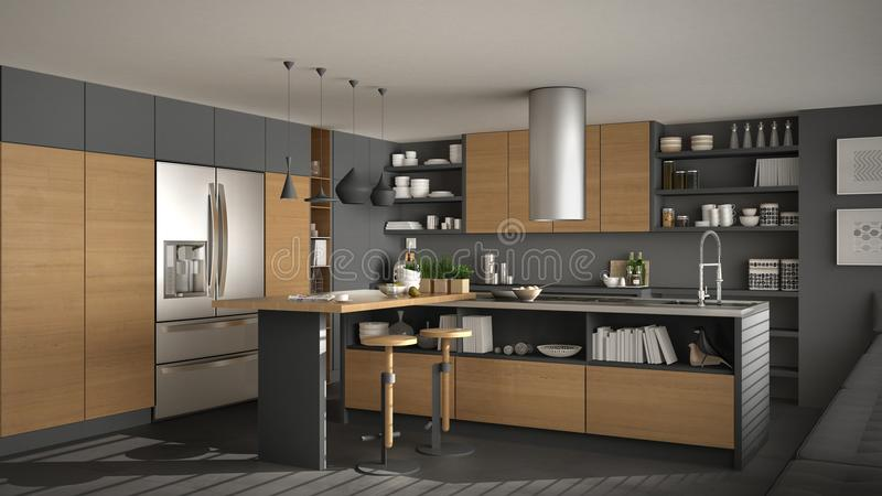 Modern wooden kitchen with wooden details, white and gray minima stock illustration