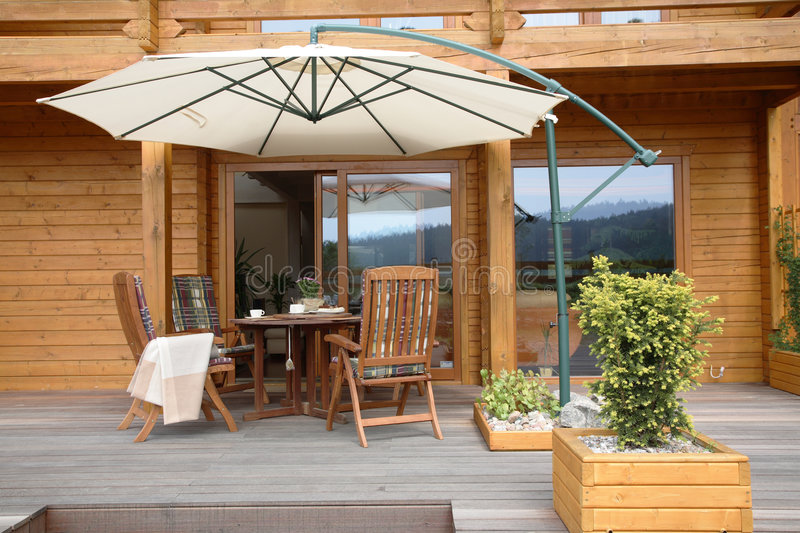 Download Modern Wooden Patio stock image. Image of building, planter - 4885641