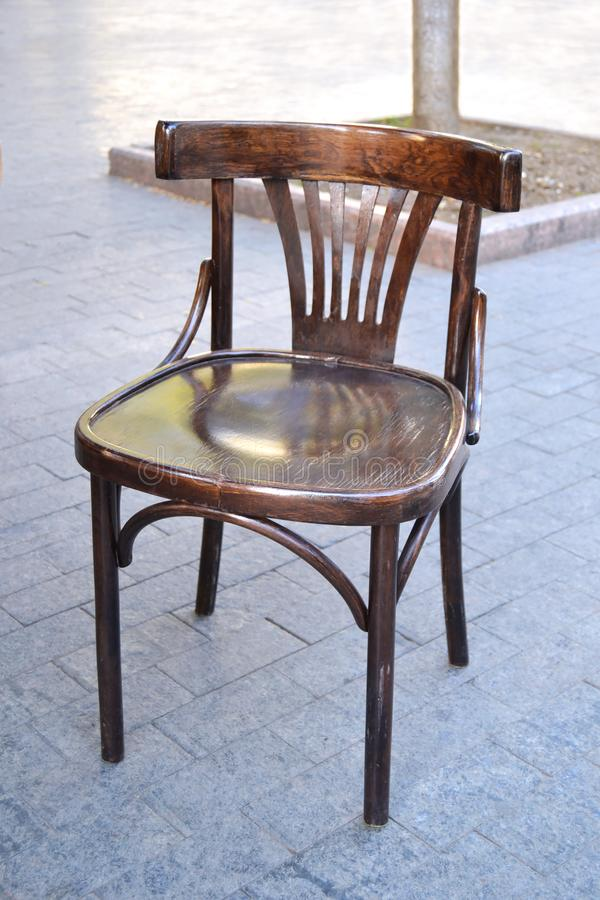 Modern wooden restaurant chair of vintage design royalty free stock images