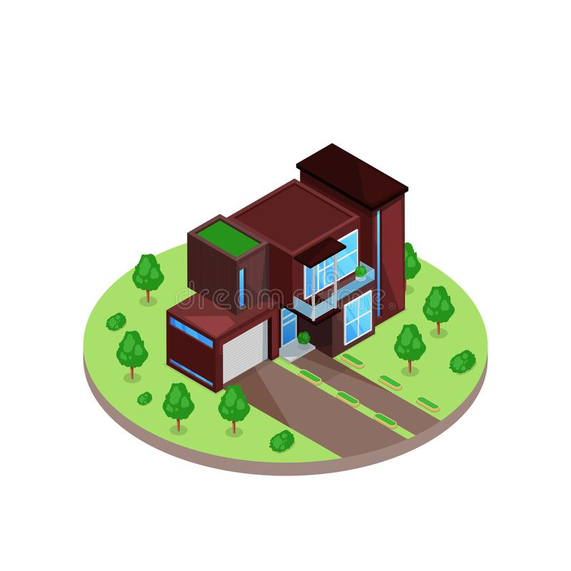 Modern wooden two stories 3d isometric style residential house in green yard. Vector illustration. Real estate icon. vector illustration