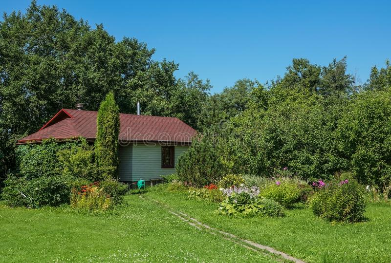 Modern wooden vacation homes in the Russia royalty free stock photography