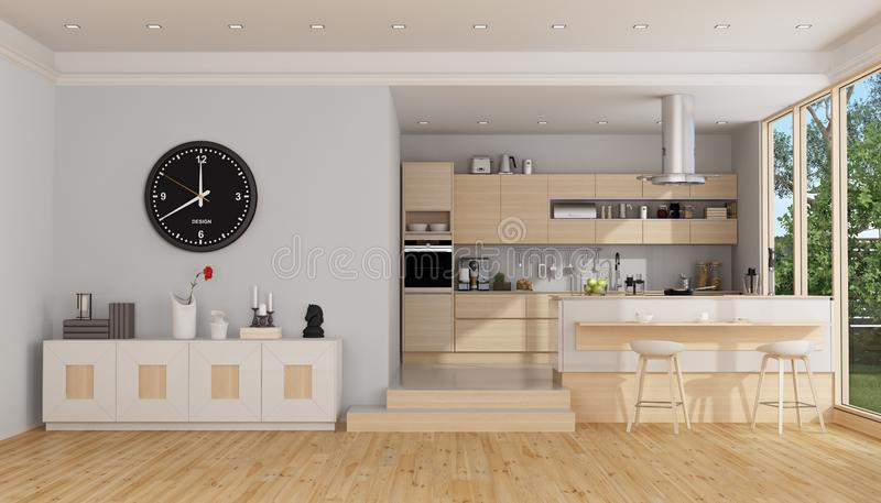 Modern wooden and white kitchen stock illustration