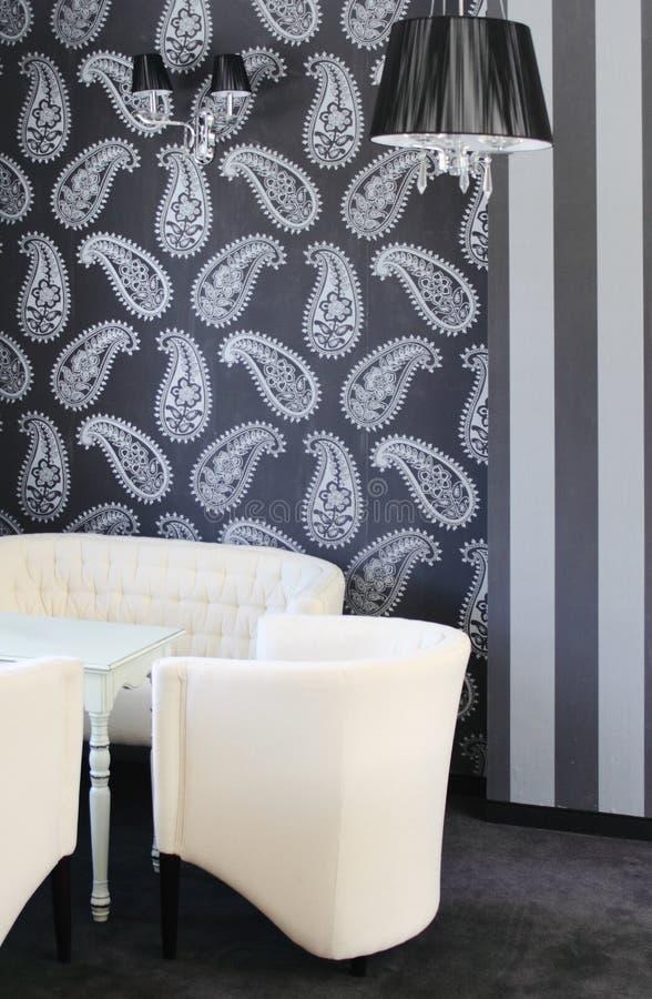 Modern woonkamer binnenlands ontwerp. stock afbeelding