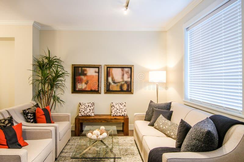 Modern woonkamer binnenlands ontwerp stock afbeeldingen