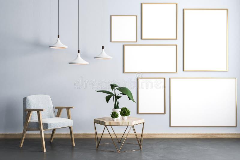 Modern woonkamerbinnenland met affiches stock illustratie