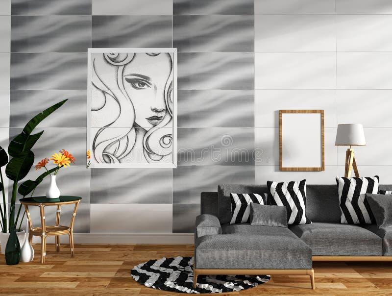 Modern woonkamerbinnenland met bankdecoratie en groene installaties op het ontwerp van de tegelmuur, minimale ontwerpen, het 3d t royalty-vrije illustratie