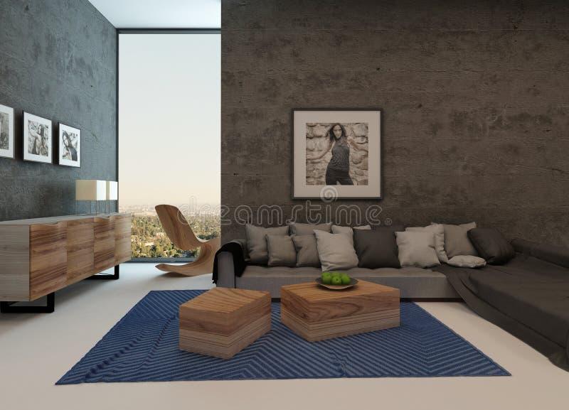 Modern woonkamerbinnenland met concrete muren stock illustratie