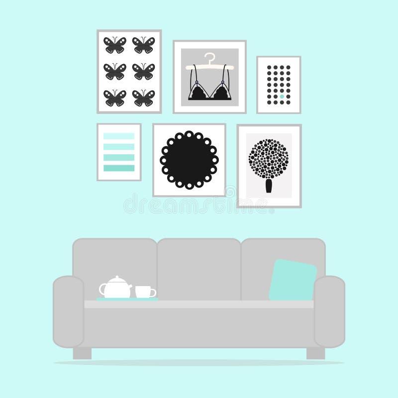 Modern woonkamerbinnenland met laag en beelden royalty-vrije illustratie