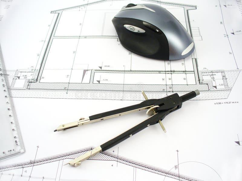 modern workdesk för arkitekt royaltyfri bild
