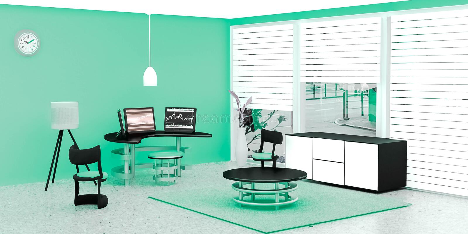 Modern working room interior, 3 black desktop computer put on a glass table in front of green wall. A lamp and flower pot place on marble floor, Cool color royalty free illustration