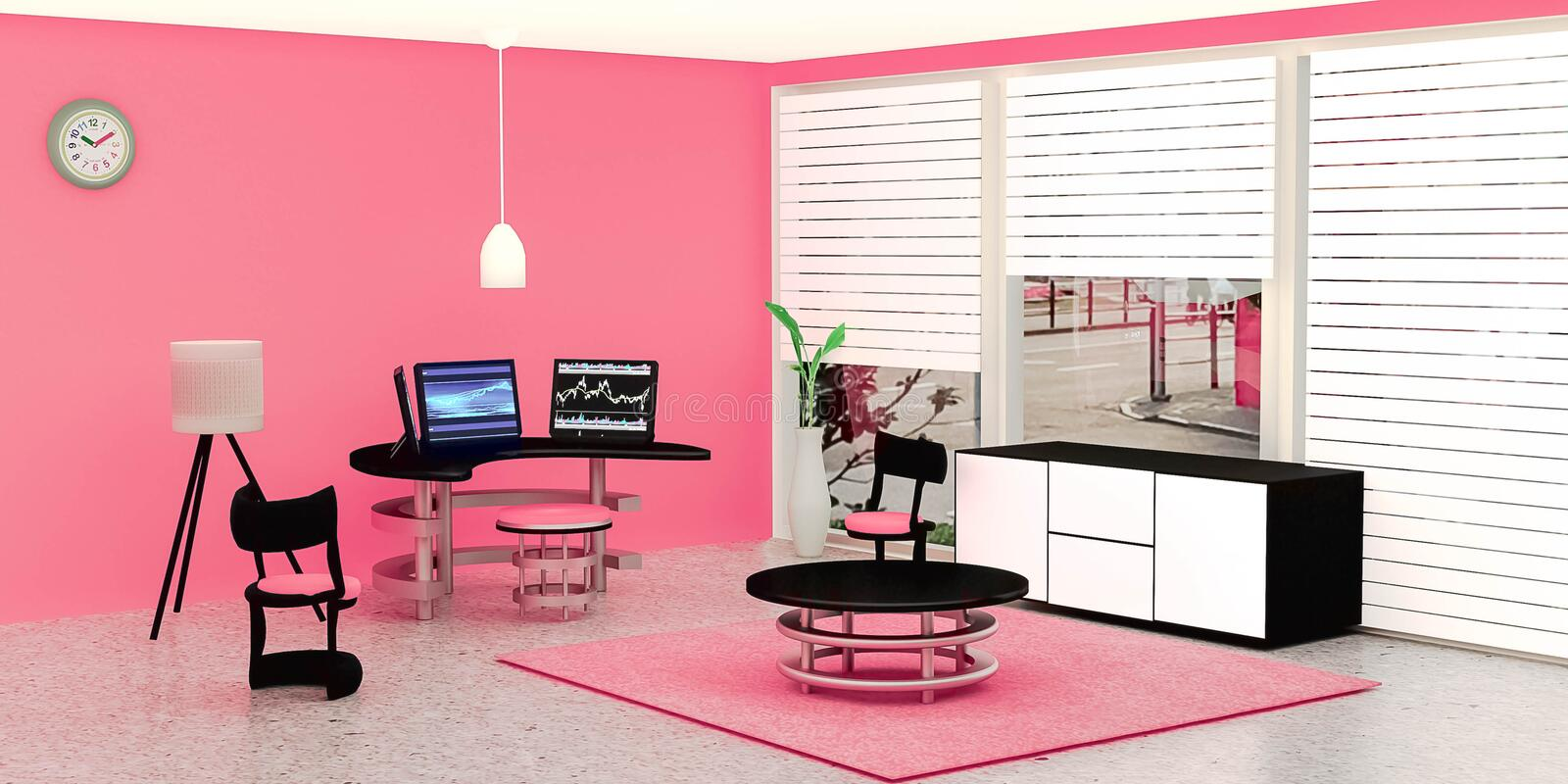 Modern working room interior, 3 black desktop computer put on a glass table in front of pink wall. A lamp and flower pot place on marble floor, Pink color tone vector illustration