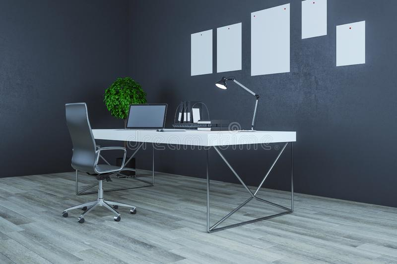 Modern workplace in interior royalty free illustration