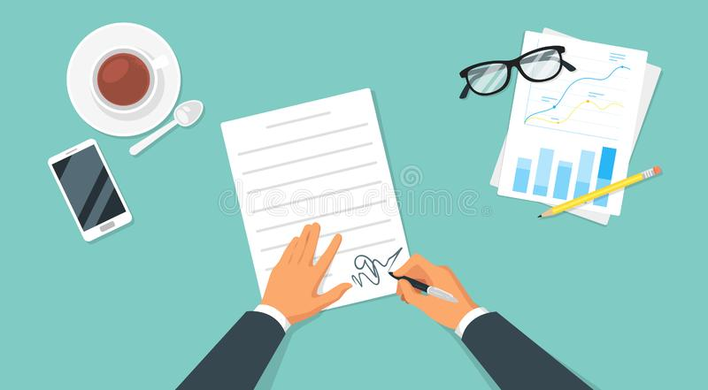 Modern workplace top view. With hands and office items around. Businessman signs an important contract stock illustration