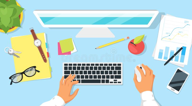 Modern workplace top view. With hands and office items around. Office worker at work vector illustration