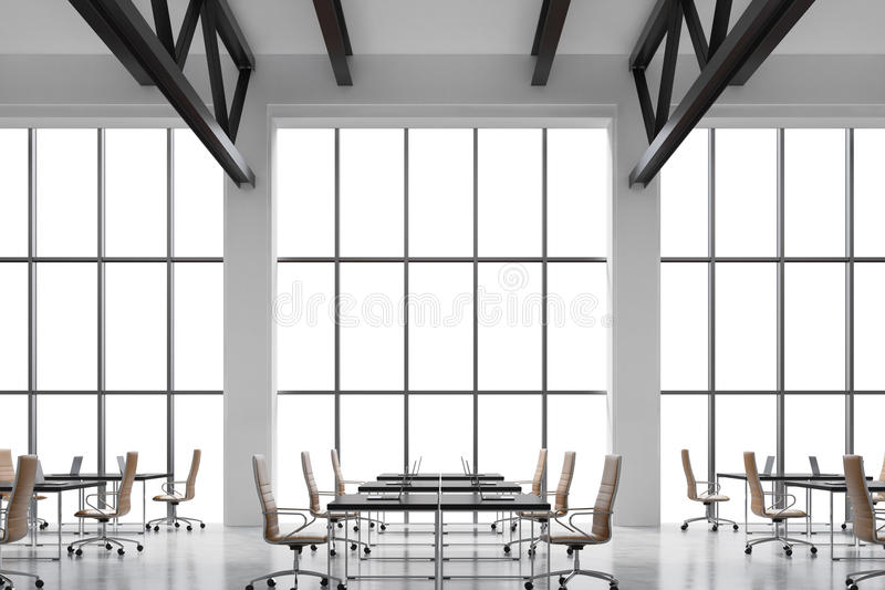 Modern workplaces in a modern bright clean interior of a loft style office. Huge windows with copy space and white walls. Black de vector illustration