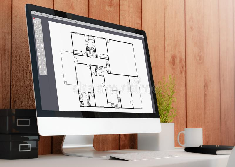 modern workspace with computer cad software royalty free illustration
