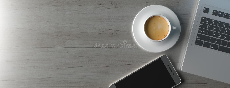 Computer laptop and smartphone on office desk, banner. 3d illustration royalty free illustration