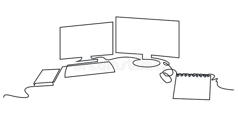 Modern workspace continuous one line vector drawing royalty free illustration