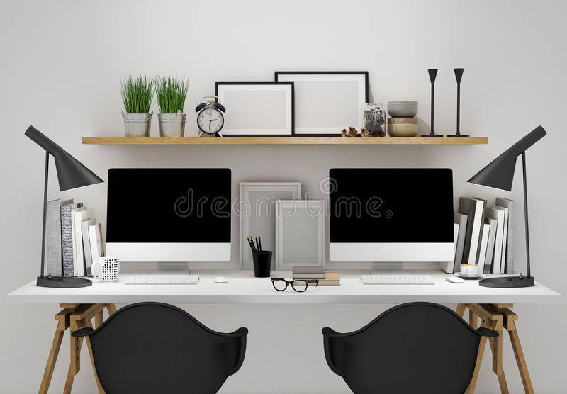 Modern workspace for two template, mock up background stock illustration