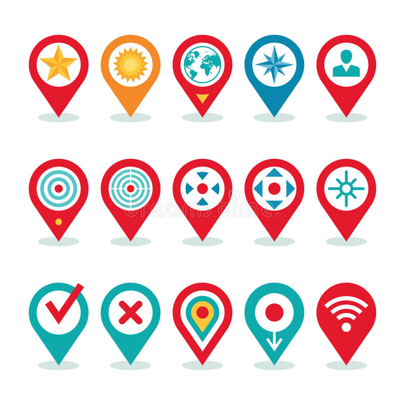 Modern World Application - Location Icons Collection - Navigation Symbols vector illustration
