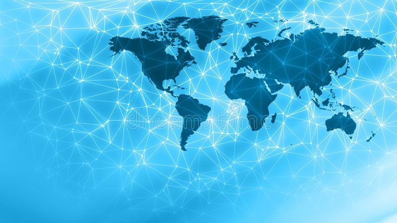 Modern world map, digital network communication. Connected dots with lines and graphic world map, creative abstract background. Global business or digital stock image