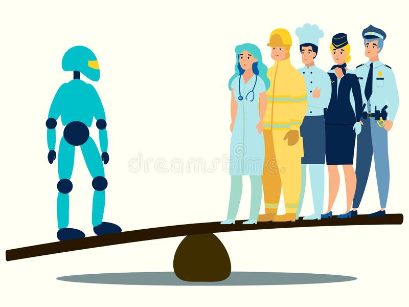 The modern world, technology is better than people. In minimalist style Cartoon flat Vector royalty free illustration