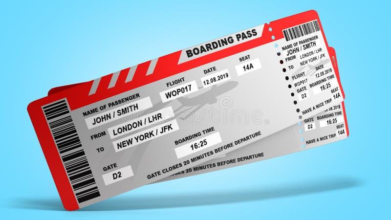 Modern World traveling world concept airline tickets on blue gradient 3d render stock illustration