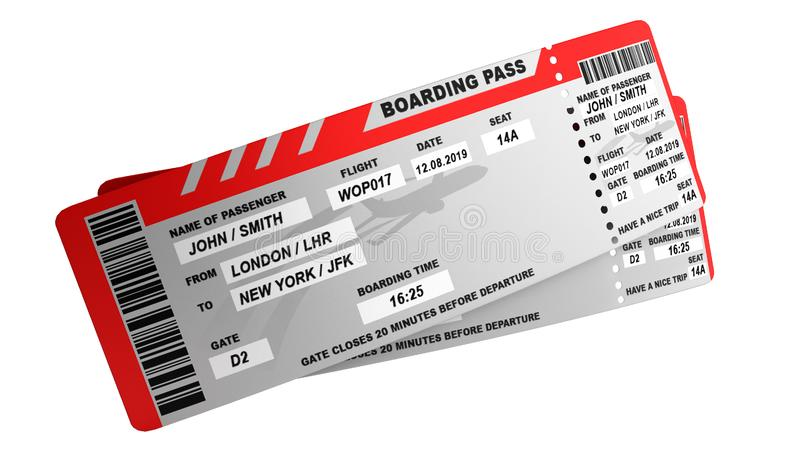 Modern World traveling world concept airline tickets on white no shadow 3d render royalty free illustration