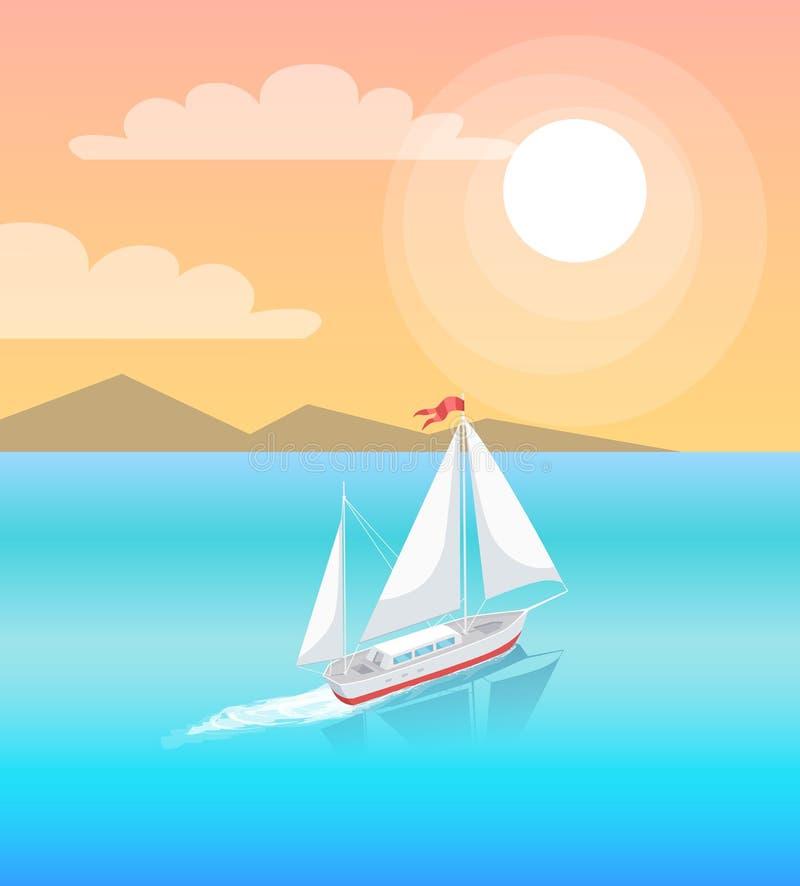 Modern yacht Marine Nautical Personal Boat Icon vektor illustrationer