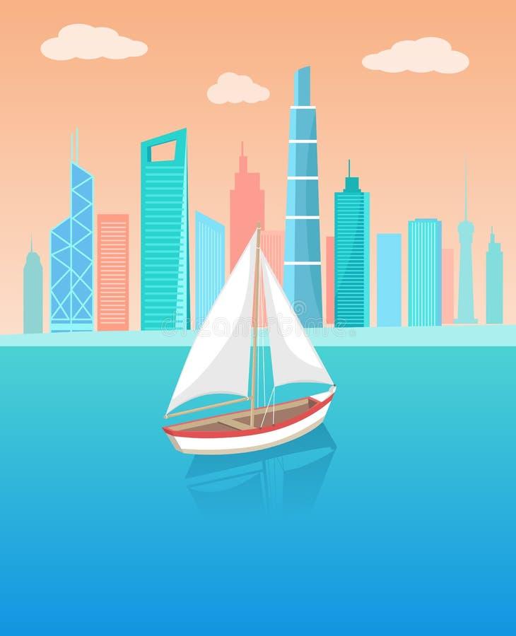 Modern yacht Marine Nautical Personal Ship Icon stock illustrationer