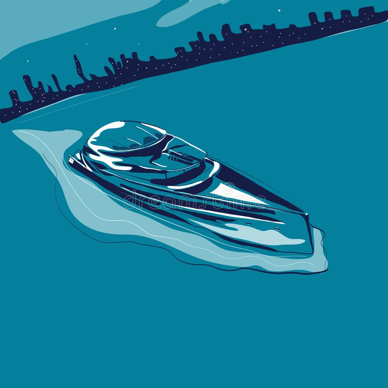 Modern yacht sailing in sea on background of night city vector royalty free illustration