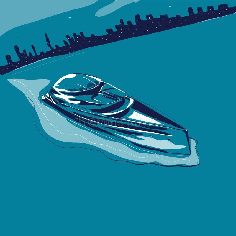Modern yachtsegling i havet på bakgrund av nattstadsvektorn royaltyfri illustrationer