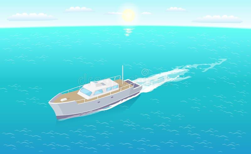 Modern yachtsegling i vektor för djupblått vatten stock illustrationer