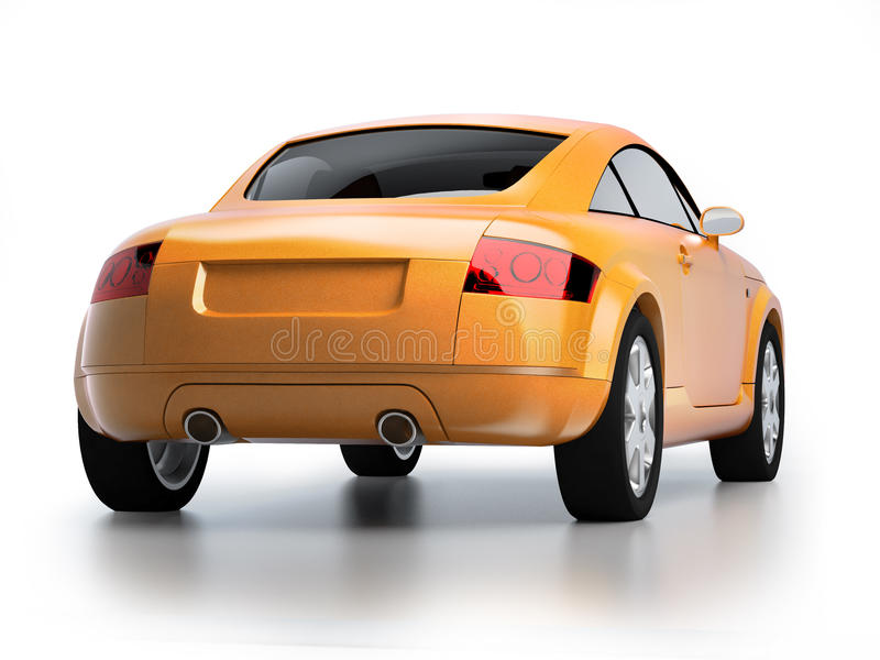 Modern Yellow Car Back View Royalty Free Stock Images
