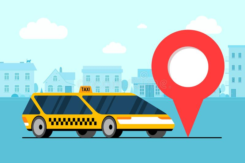 Modern yellow car near geotag gps location pin icon on cityscape road. Online navigation application order taxicab stock illustration