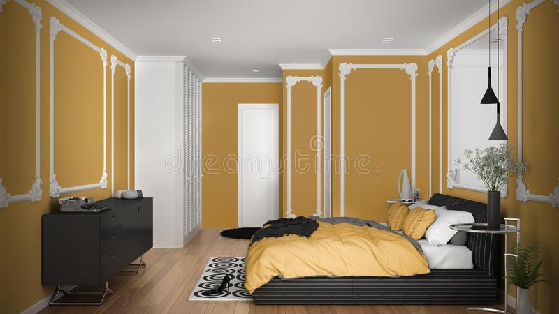 Modern yellow colored bedroom in classic room with wall moldings, parquet, double bed with duvet and pillows, minimalist bedside. Tables, mirror and decors royalty free illustration