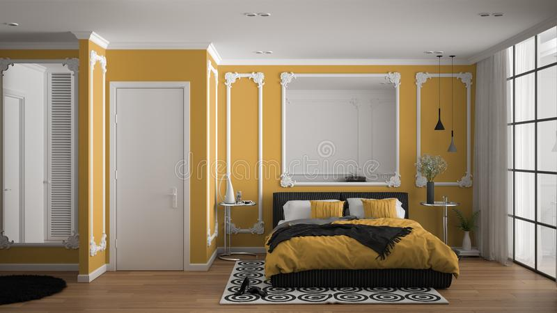 Modern yellow colored bedroom in classic room with wall moldings, parquet, double bed with duvet and pillows, minimalist bedside. Tables, mirror and decors vector illustration
