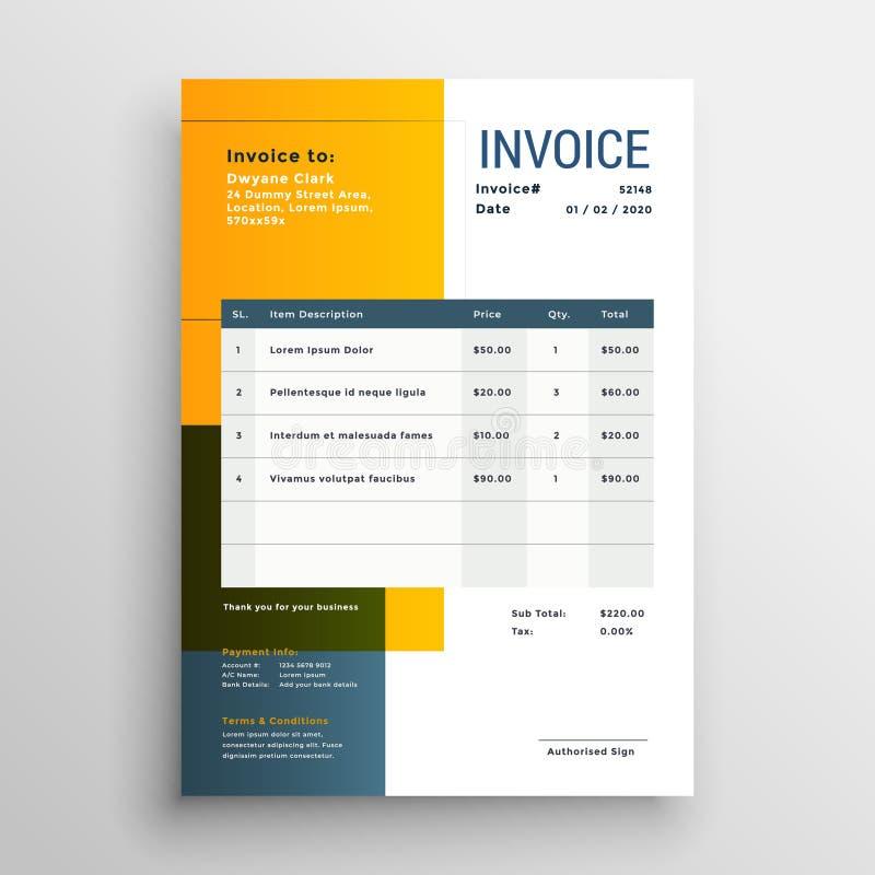 Modern yellow invoice template design royalty free illustration