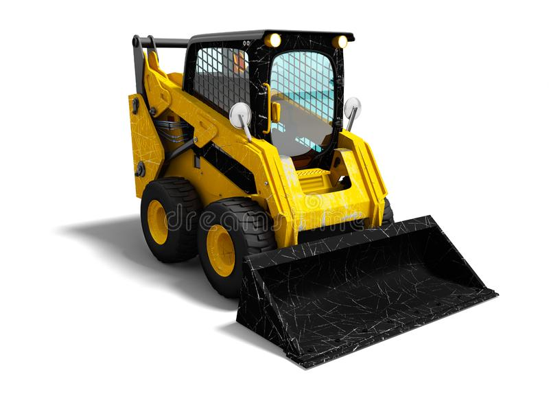 Modern yellow mini loader after loading stone 3d render on white. Background with shadow royalty free illustration