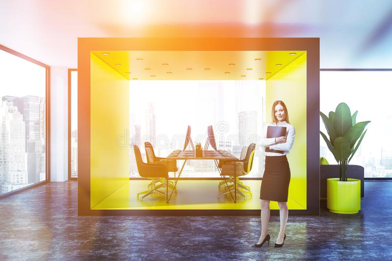 Modern yellow office interior, front view, woman royalty free stock images