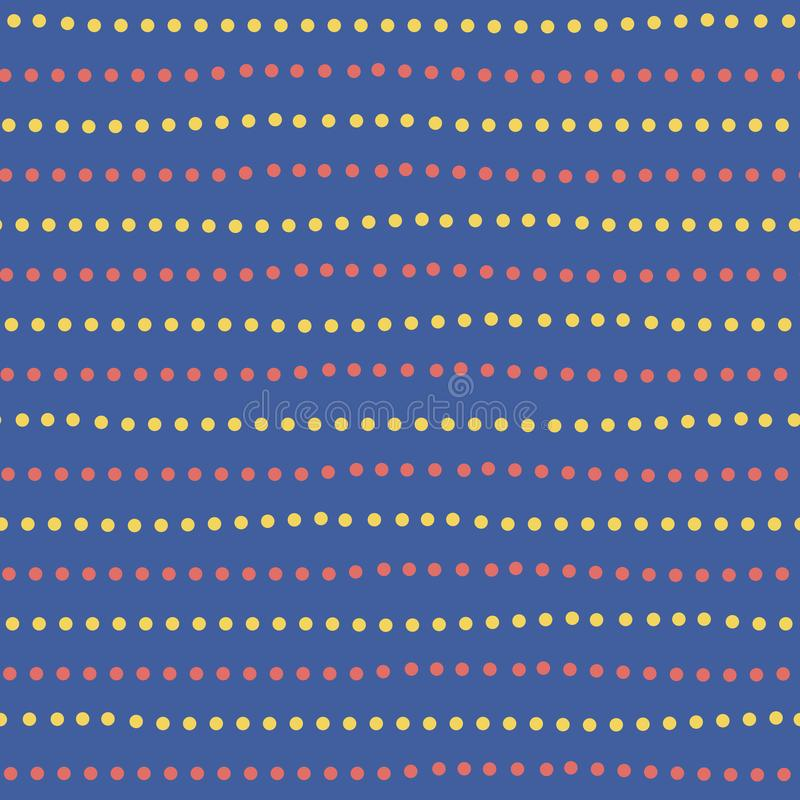 Modern yellow and red hand drawn dotted random horizontal lines. Seamless geometric pattern on blue background. Great stock illustration