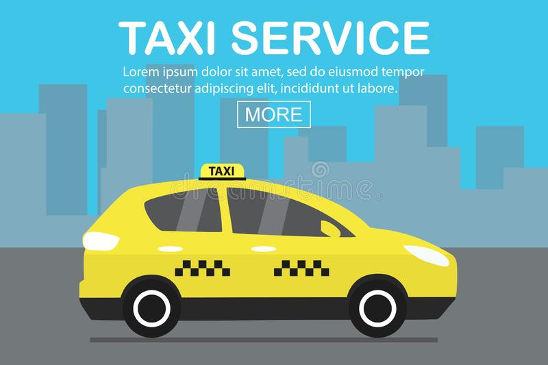 Modern yellow taxi car,web template place for text. Vector illustration royalty free illustration