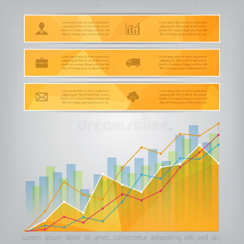 Modern yellow triangular style Business Infographics with abstract financial chart showing various visualization graphs royalty free illustration