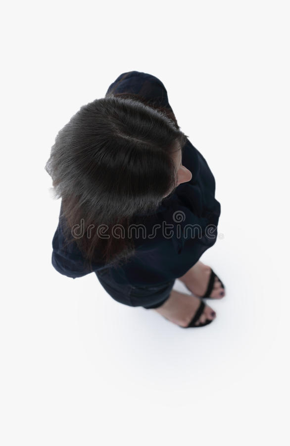 View from above. modern young business woman looking up royalty free stock photo