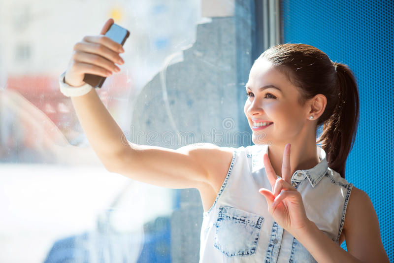Modern young business woman stock photo