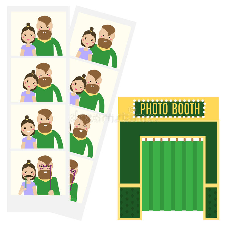 Modern young couple taking selfie photo in photo booth. Flat and photo booth icon. Hipster man and woman family having fun and get. Romantic memories. Vector royalty free illustration