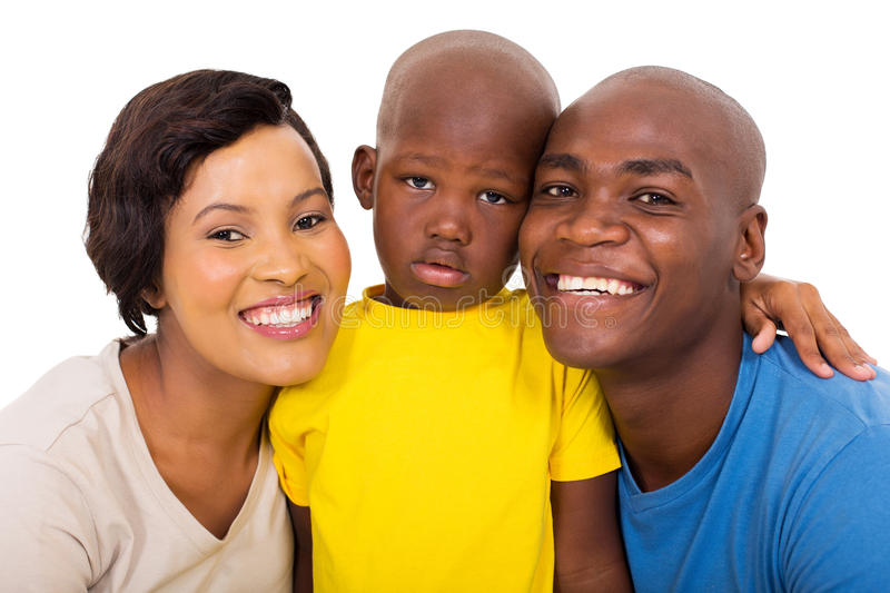 Modern young family. Modern young african american family isolated on white stock image