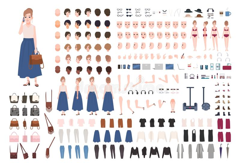 Modern young woman constructor or animation kit. Collection of female character body parts, gestures, stylish clothing royalty free illustration