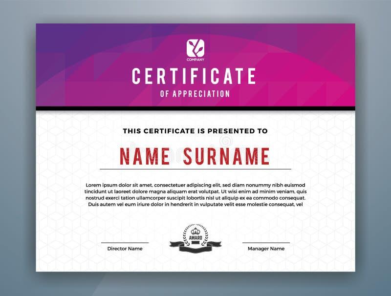 Modern yrkesmässig certifikatmall som kan användas till mycket stock illustrationer