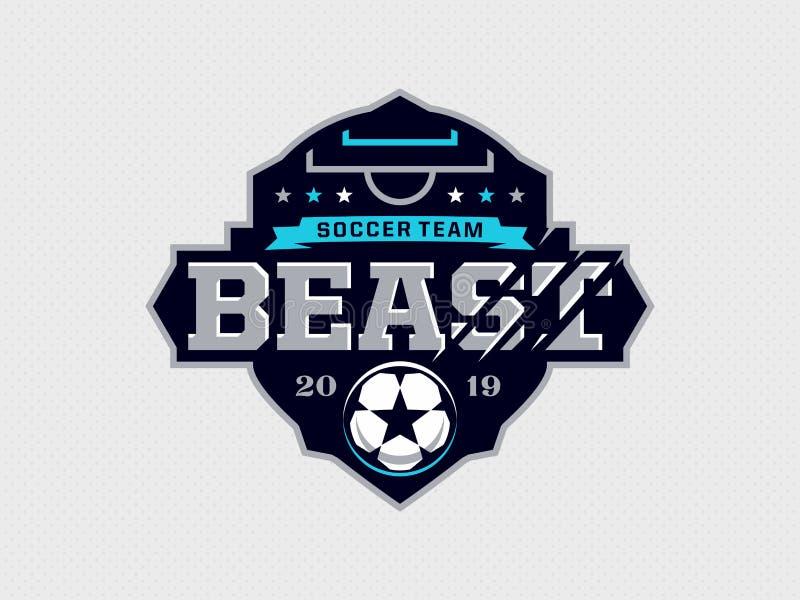 Modern yrkesmässig emblemlogo för fotbolllag royaltyfri illustrationer